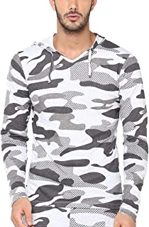 Urbano Fashion Men's White Military Camouflage Printed Hooded Full Sleeve Cotton T-Shirt