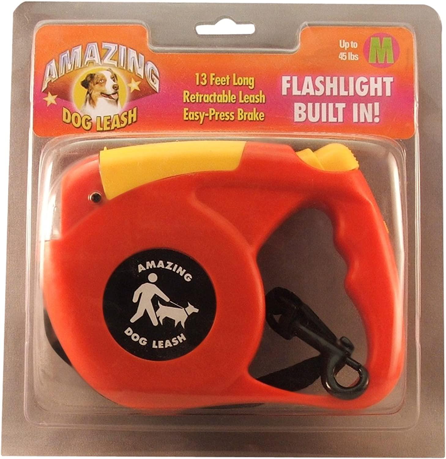 Amazing Flashlight Retactable Leash for Dogs Cats up to 22Pound, Red and Yellow
