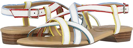 White Nappa/Multicolor Ribbon/Yellow