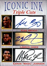 Kobe Bryant Lebron James Magic Johnson Iconic Ink Triple Cuts fasc auto 1/1000 Los Angeles Lakers