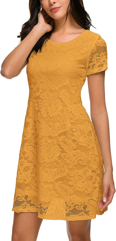 Bloggerlove Women's Short Sleeve Elegant 定価 25%OFF Dres Floral A Lace Line