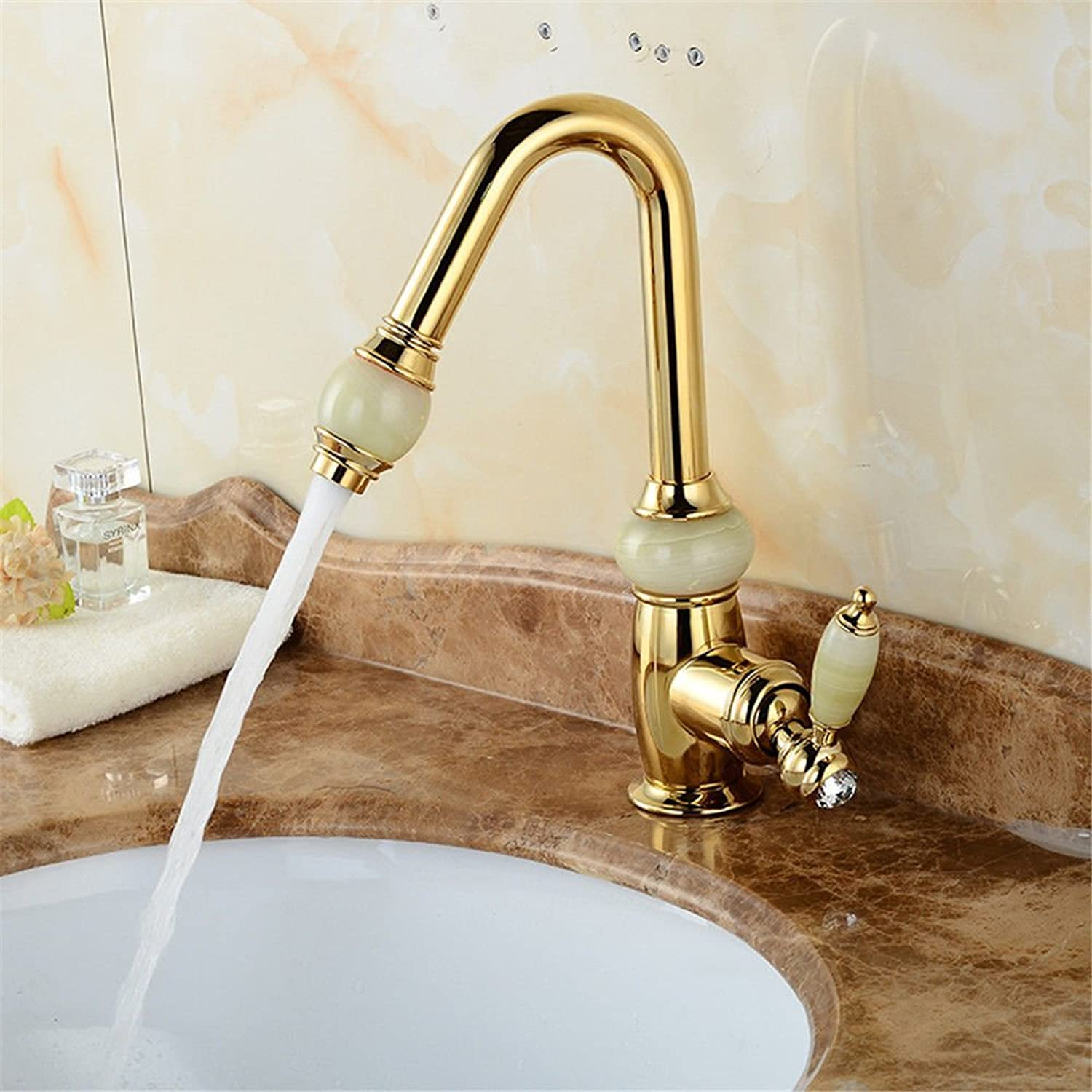 Gyps Faucet Basin Mixer Tap Waterfall Faucet Antique Bathroom Mixer Bar Mixer Shower Set Tap antique bathroom faucet All copper single hole gold plated spring can pull faucet kitchen sink faucet and c