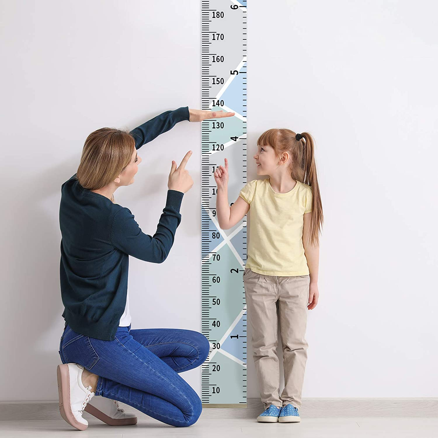 7.9 x 79 Inch Children Growth Chart Wall Hanging Ruler Boys Girls Baby Removable Canvas and Wood Measuring Ruler for Children Bedroom /& Nursery Decoration Height Chart for Kids