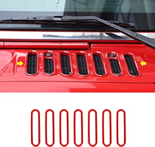 JeCar Hood Vent Cover ABS Cowl Panel Vent Cover Exterior Accessories for 2007-2017 Jeep Wrangler JK JKU, Red