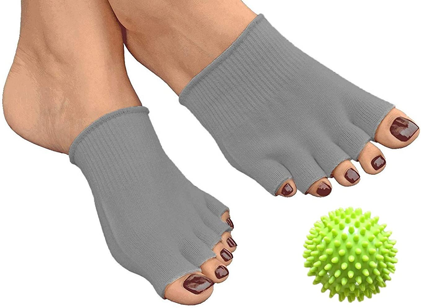 Albuquerque Mall AAATS Toe Gel-Lined Compression Socks Ball Spine Massage half Green
