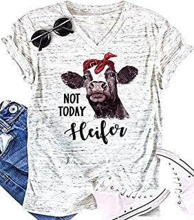NOT Today Heifer T-Shirt Womens Cow Printed Shirts V Neck Summer Short Sleeve Top Tees