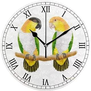 時計 壁掛け 壁掛け時計 掛け時計 モダン 壁時計 掛時計 デザイン時計 無音時計 連続秒針 静音 オシャレ シロハラインコ オウム愛