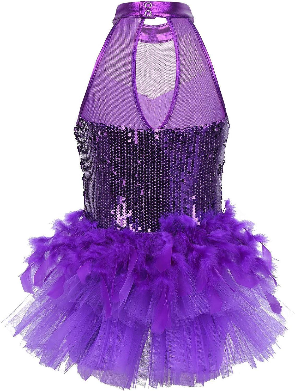 Yeahdor Kids Girls Sequins Hip-Hop Latin Jazz Dance Leotard Jumpsuit Ballet Street Dancing Stage Performance Costume