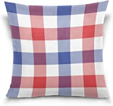 "MASSIKOA Patriotic Plaid Checked Decorative Throw Pillow Case Square Cushion Cover 16"" x 16"" for Couch, Bed, Sofa or Patio..."