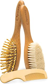 Wooden Baby Hair Brush and Comb Set with Natural Goat Bristles | Soothing Cradle Cap Brush + Wooden Bristles Massage Brush & Comb for Newborns and Toddlers Perfect Baby Sower & Registry Gift