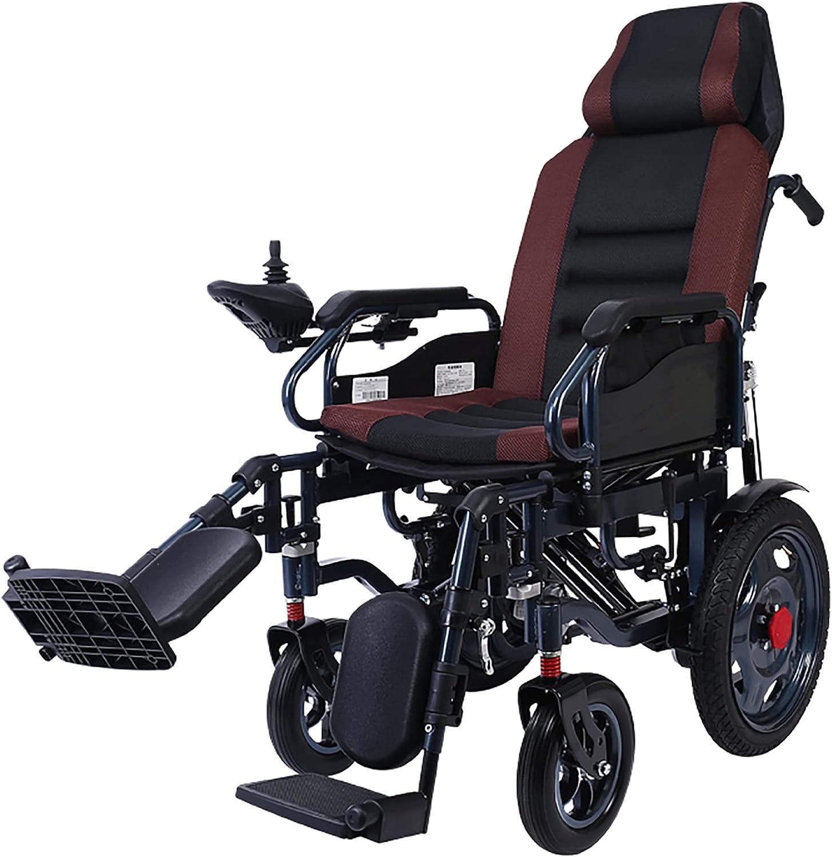 Silla de ruedas eléctrica plegable portátil, con respaldo y reposapiés ajustables, batería de iones de litio de 20 A, potente motor dual de 500 W/marrón / 115x94x63cm