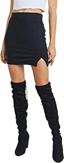 Women's Stretchy Mini Short Skirt with Front Slit