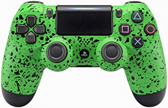 eXtremeRate Textured Green Faceplate Cover, 3D Splashing Front Housing Shell, Comfortable Non-slip Replacement Kit for Playstation 4 PS4 Slim PS4 Pro Controller (CUH-ZCT2 JDM-040 JDM-050 JDM-055)