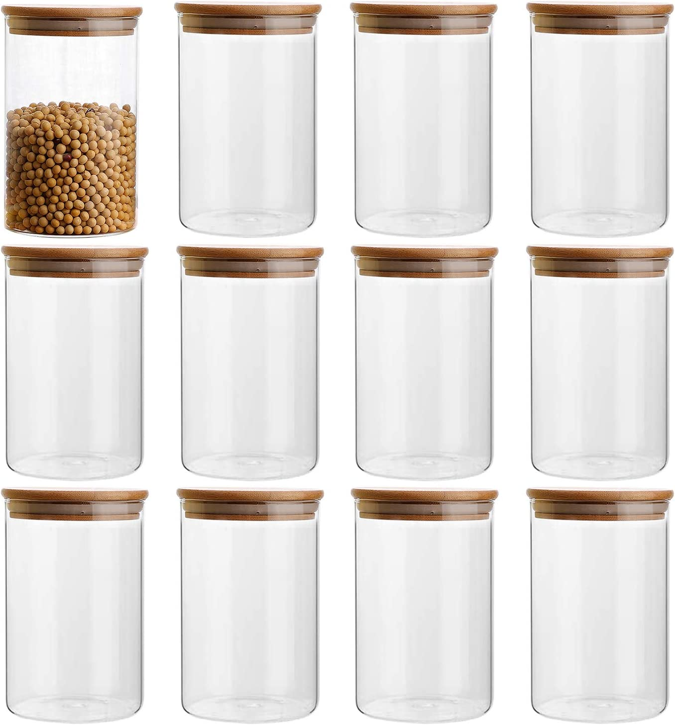 9oz/9ml Clear Glass Food Storage Containers Set Airtight Food Jars with  Bamboo Wooden Lids Kitchen Canisters For Sugar, Candy, Cookie, Rice and ...