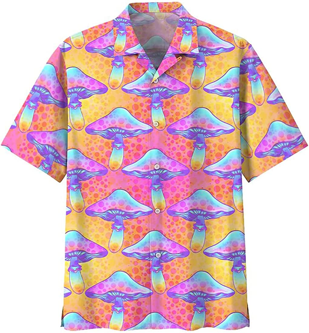Mushroom Hawaiian Shirts for Men - Mushroom Button Down Mens Hawaiian Shirts Short Sleeve Series 27