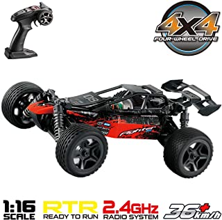 Hosim 1:16 Scale 4WD 36+ kmh High Speed Hobby RC Cars - Boys Remote Control Car Trucks 4x4 Off Road Vehicle Electric Monster Truck - All Terrain Waterproof Toys Trucks Cars for Kids and Adults(Red)