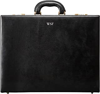 Maxwell Scott Personalized Men's Leather Business Attache Case - Strada Black