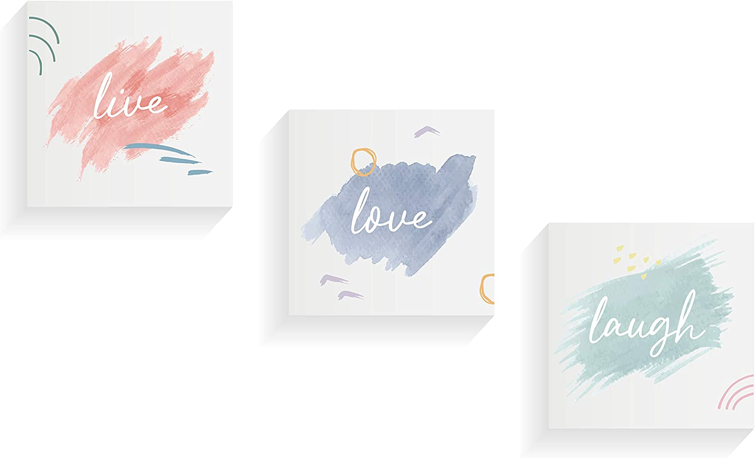 """NUSNOS Framed Wall Art   THREE Canvas Art Painting set LIVE LAUGH LOVE Wall Decor   3 X Minimalist Wall Art Pieces Printed on Stretched Canvas Prints on Wooden Frames Suitable As Nursery Wall Decor   LIVE LOVE LAUGH Modern Wall Art Set Each Frame Sized 8.26"""" X 8.26""""   Quotes Wall Decor & Inspirational Wall Art With Pastel Colors Suits As Bedroom Set, As Kitchen & Bathroom Wall Decor, Motivational Wall Art & White Aesthetic Room Decor Set as Teen Wall Decor"""