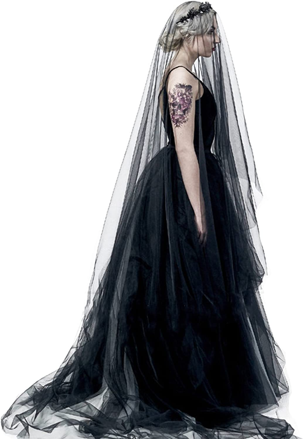 Black Long Veil Bridal Hallowee Cathedral Headpiece Popular Popular shop is the lowest price challenge overseas Wedding