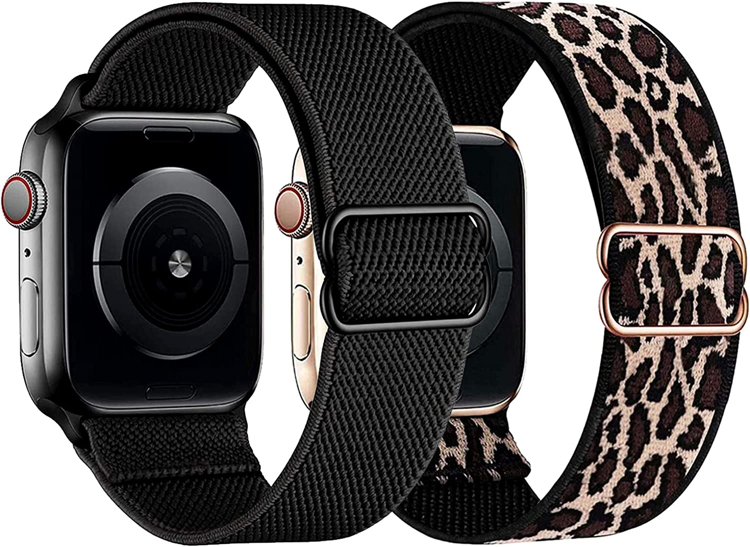 2 Pack Elastic Band Compatible with Apple Watch Bands 41mm 40mm 45mm 44mm 38mm 42mm, Adjustable Stretch Solo Loop Sport Nylon Women Men Bands Compatible for Apple Watch iwatch SE Series 7/6/5/4/3/2/1