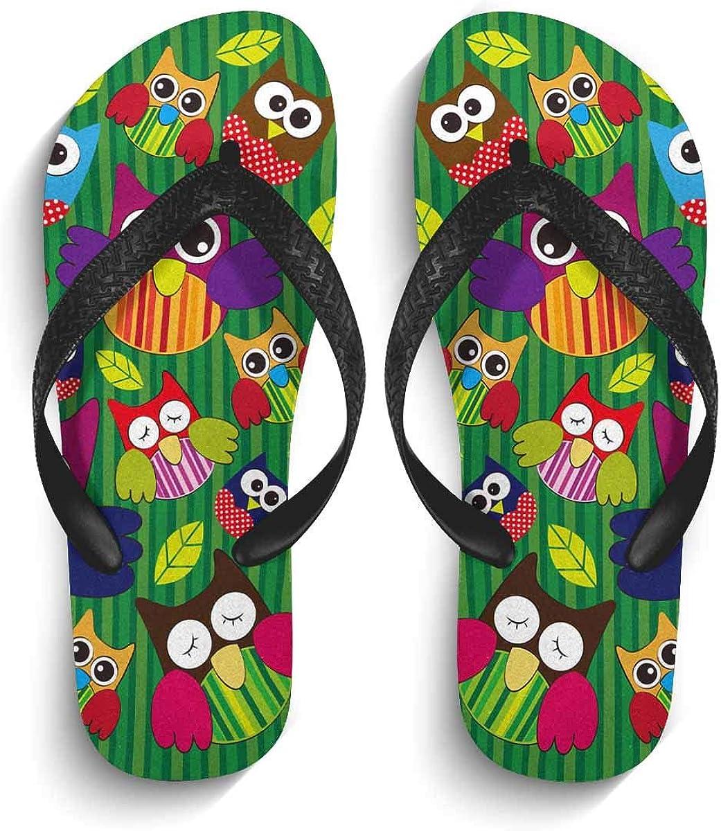 InterestPrint Men's Flip Flop Sandals Cute Owl Pattern Summer Beach Thong Sandal Outdoor Footwear S