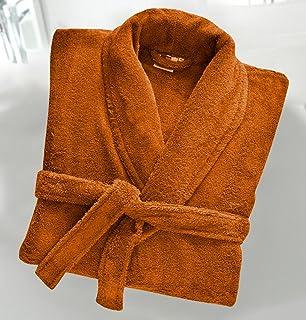 Casabella Uni Sex 100% Cotton Terry Towelling Shawl Collar Bath Robe Dressing Gown_Orange_XX-Large