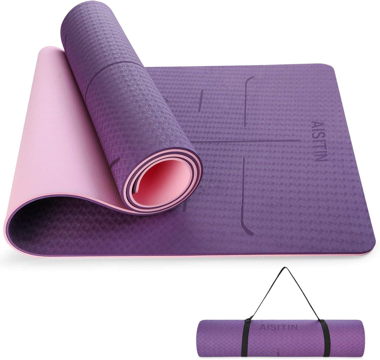 AISITIN Yogamatte rutschfest Faltbar Sportmatte Fitnessmatte 220  220   20.20cm, Hilfslinien Licht Gymnastikmatte Dicke Trainingsmatte für Yoga ...