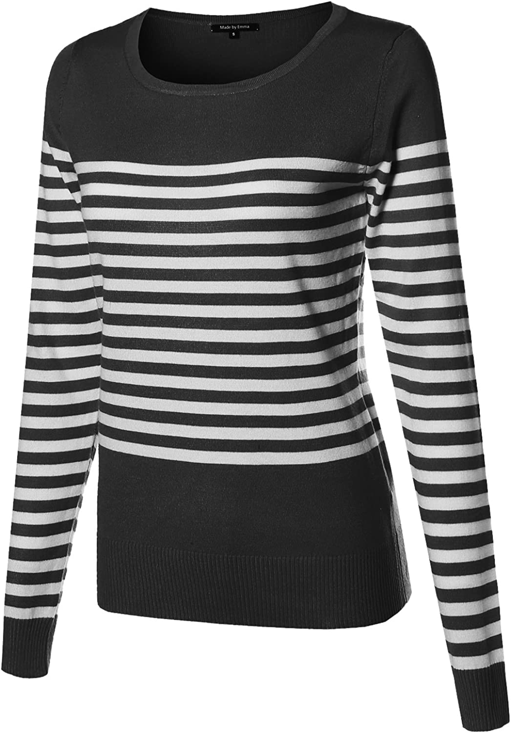 Made by Emma Women's Round Neck Striped Pullover Long Sleeve Top