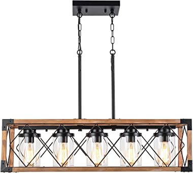 """Trongee 32.7"""" 5-Light Kitchen Island Lighting, Farmhouse Dining Room Living Room Chandelier, Industrial Black Metal and Wood"""