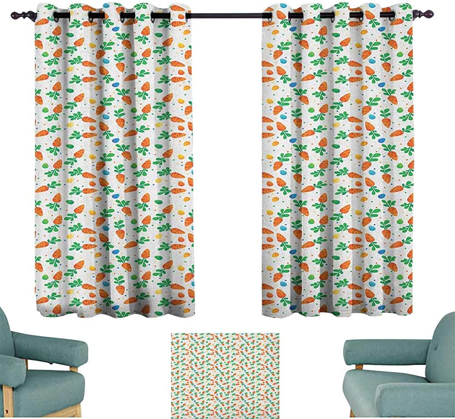 Easter,Window Curtain for Living Room orange Carreds colorful Eggs and Dots in Cartoon Style Fresh and Healthy Bunny Food 42 X45  Drapes for Kids Living Room