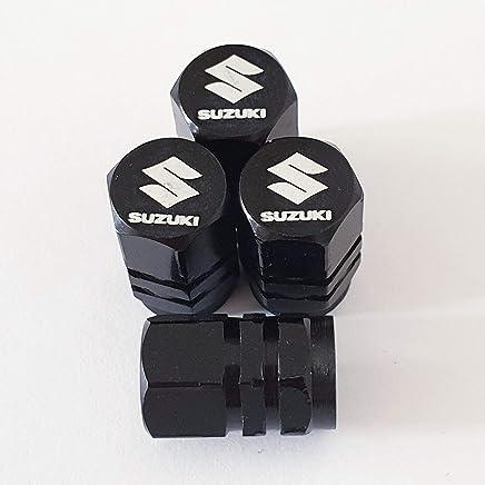Speed Demons Suzuki - Tapones para válvulas con Grabado láser, Color Negro