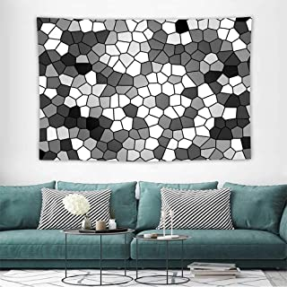Alisoso Grey and Whitewall Hanging Art Tapestry Stained Glass Pattern with Abstract Composition Mosaic Bedroom Decoration Tapestry, W80 x L60 inch