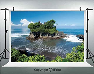 Balinese Decor Photography Backdrops Tanah Lot Temple in Bali Island Wavy Ocean Historic Architecture Heritage Picture,Birthday Party Background Customized Microfiber Photo Studio Props,8x8ft,Green Bl