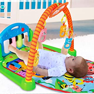 XuanYue Colorful Baby Activity Play Gym - Kick and Play Baby Mat Newborn Toy with Piano Mirror Cartoon Animal Lay Sit Toys Newborn Gift for Cute Baby 1-36 Months