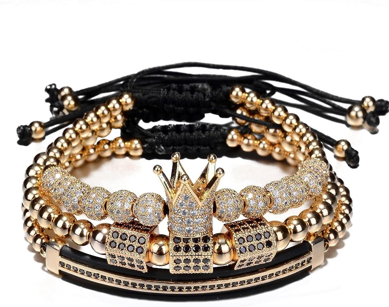 WAZG SYBLD 3 Pieces/Set of Hip-hop Bracelet Charm Weaving (Metal Color : Gold)