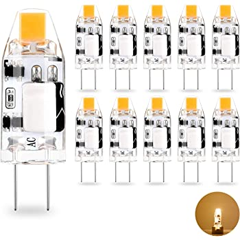 G4 Led Light Bulbs Yuiip 1 2w Cob Bulbs Warm White 2700k Ac Dc 12v Energy Saving Led Lamps For Chandelier Wall Sconce G4 10w Halogen Bulbs Equivalent No Flicker 360 Beam Angle 10 Pack