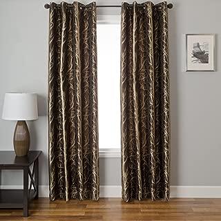 Softline Home Fashions Catara Tree Series Modern Back Tab Window Treatment/Panel/Curtain/Drape, Chocolate/Latte, 55 x 96