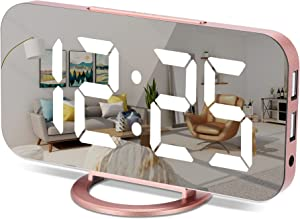 Digital Alarm Clock,7 Inch LED Mirrored Large Display, with Dual USB Charger Ports,Auto Dim,Snooze Function,Modern Desk Wall Electronic Clocks for Bedroom Living Room Office - Rose Gold