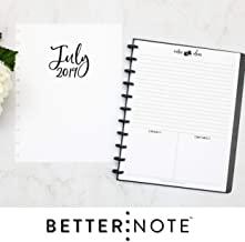 BetterNote July 2019- June 2020 Monthly Calendar for Disc-Bound Planners, Fits 11-Disc, Levenger Circa, Arc by Staples, TUL by Office Depot, Letter Size 8.5