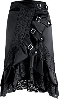 Charmian Women's Steampunk Gothic Retro Victorian Asymmetry Lace Cyberpunk High Low Party Skirt With Buckles