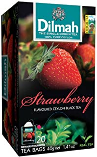 Dilmah Strawberry Flavored Ceylon Black Tea - 20 Tea Bags - Sri Lanka Ceylon Dilmah Strawberry Tea Real Tea