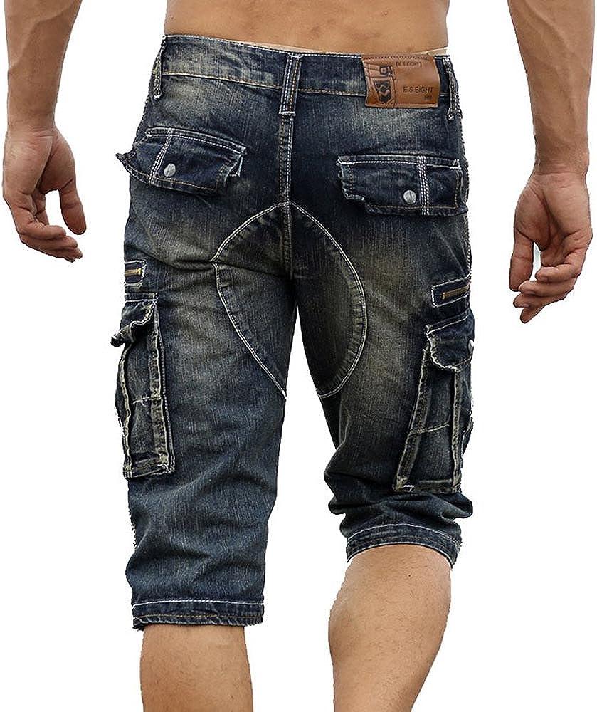 Allonly Men's Fashion Casual Slim Fit Multi-Pocket Denim Cargo Shorts Jean Short