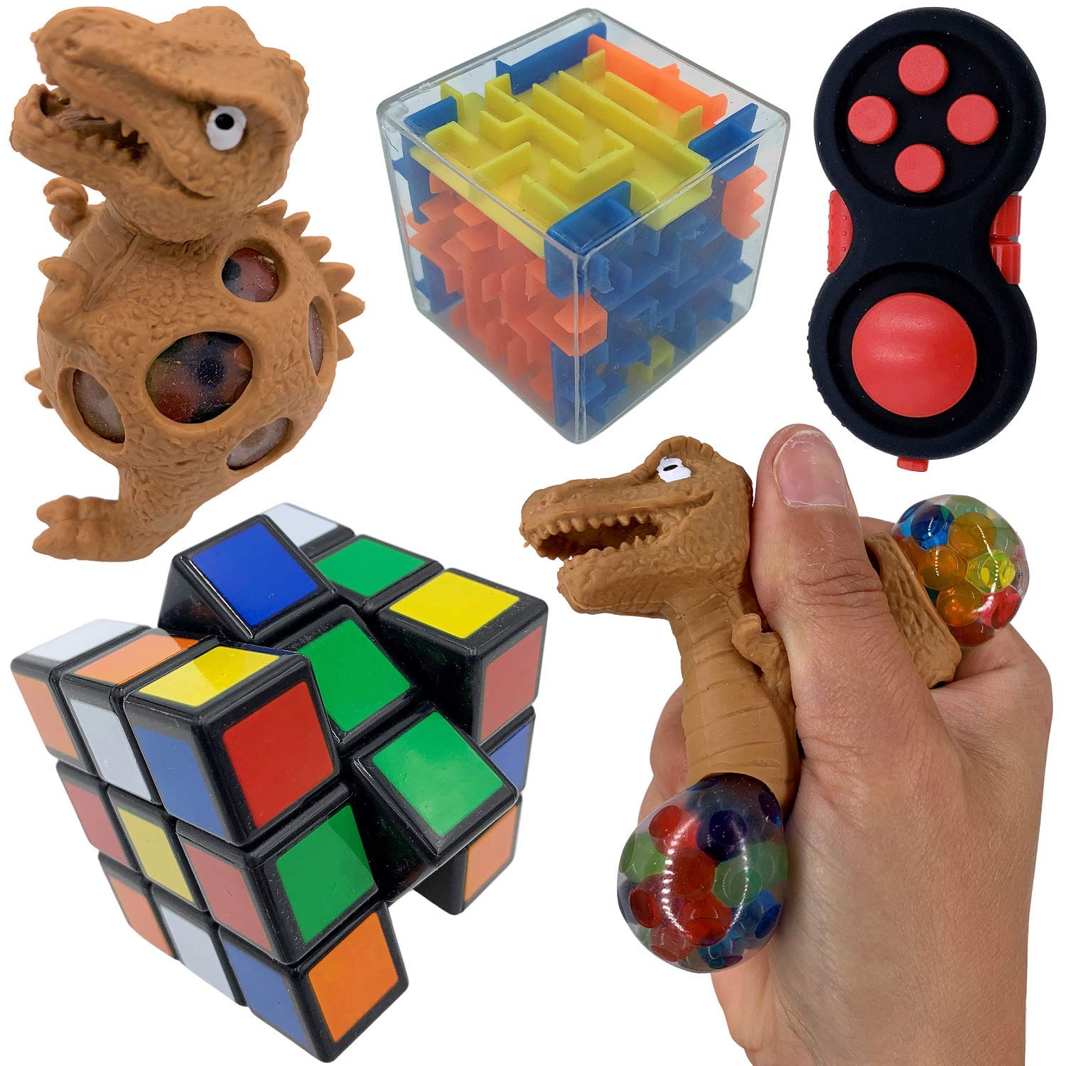 Sensory Fidget Toys Set - 25 Pack - Stress Relief and Anti Anxiety Toys for Kids - Cool Fidget Packs with Stress Balls, Fidget Cube, & More for Party Favors, Prizes, Travel, & Pinata Stuffers