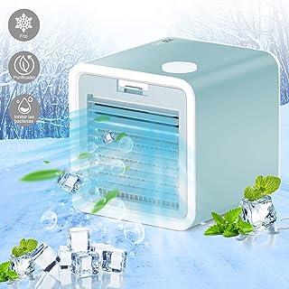 VAZILLIO Aire Acondicionado portátil 3 en 1, Ventilador de Aire Acondicionado portátil USB, Mini Aire Acondicionado portátil, purificador de humidificador de Aire frío (Azul Claro)