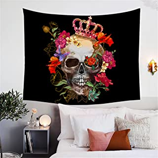 BlessLiving Flower Skull Tapestry, Crowned Skull Art, Floral Skull Tapestry, Skull Tapestries, Skull Rose Wall Art, Teenage Tapestry (80 x 60 Inches)