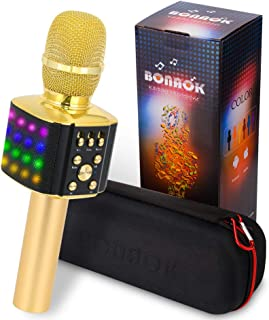 BONAOK Wireless Bluetooth Karaoke Microphone with controllable LED Lights, 4 in 1 Portable Karaoke Machine Speaker for Android/iPhone/PC(Gold)