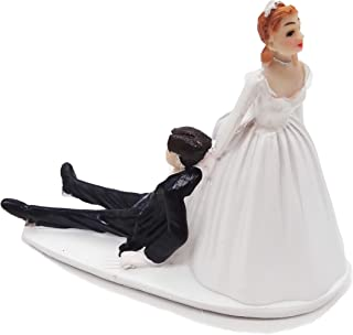 SCHOLMART Funny Bride and Groom Decorative Wedding Cake Toppers - Figurines, Keepsake Decorations in Unique Pose (Reluctan...