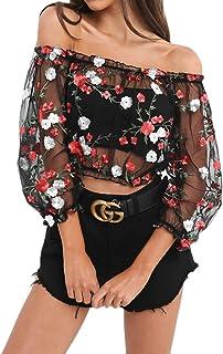 a6470c3a41f7a7 Camicia Donna Estivi Autunnale Eleganti Chic Stile Dolce T-Shirt Manica 3/4  Spalla