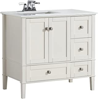 Simpli Home NL-HHV029-36-2A-L Chelsea 36 inch Contemporary Bath Vanity in Soft White with White Engineered Quartz Marble Top