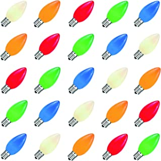 Bulbstring - 25 Pack - 5 Watt C7 Colored Dimmable Outdoor String Light Bulbs - Ceramic Christmas Incandescent Replacement Multi Color Bulb C7/E12 Candelabra Base - Assorted Color